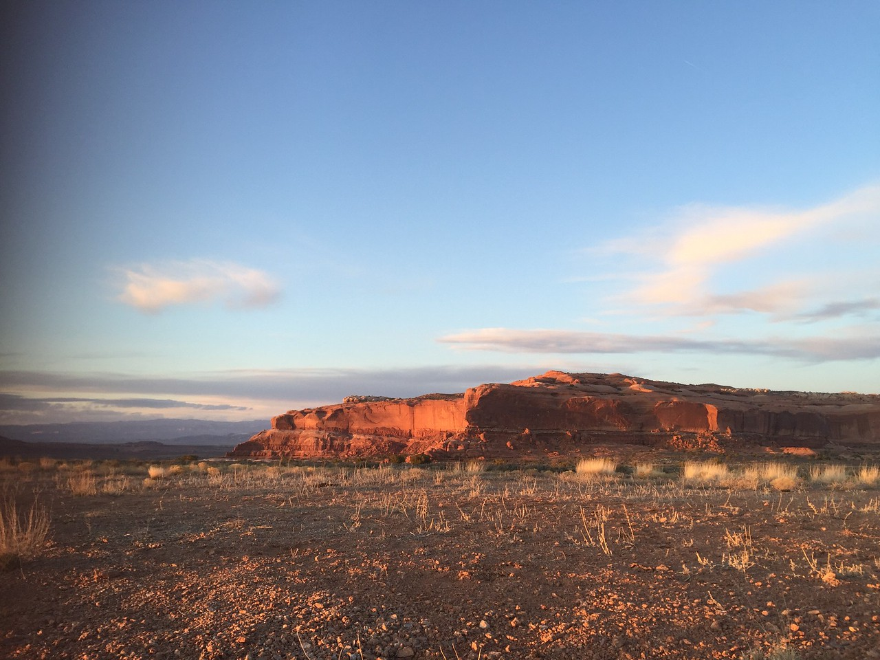 View of Lone Mesa at sunset.<br /> Photo: Abby Barrows