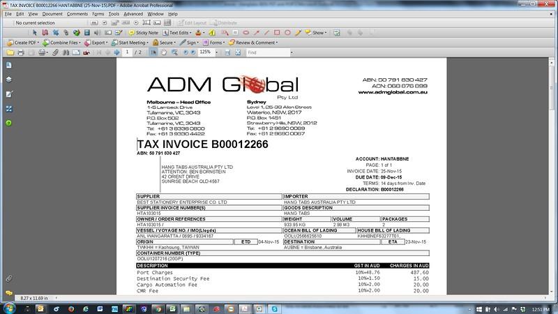 ADM Invoice