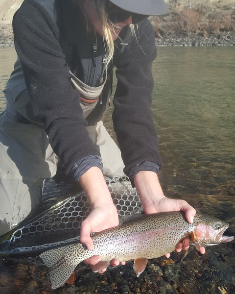 Katie with a slab