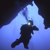George at 140 feet deep in Belize's Blue Hole