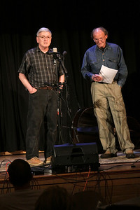 """Studio Session in Duxbury"" founder, Bob Crownfield, left and key principal Mark Casey welcome the audience to the show featuring the popular quartet Tripping Lily last Saturday night in Harvey Hall at the First Parish Church."