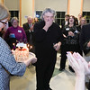 Steven Karidoyanes is touched by the surprise birthday celebration he received on Saturday night after the concert.  Wicked Local Photo/Denise Maccaferri