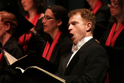 "Guest soloist, Andrew Garland, performs during the Plymouth Phil and Masterworks Chorale presentation of Vaughn Williams, ""Five Mystical Songs""."