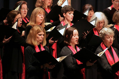 The womens vocal section of the Masterworks Chorale sings during the Plymouth Philharmonic concert last Saturday, Oct 2th at the Duxbury PAC.