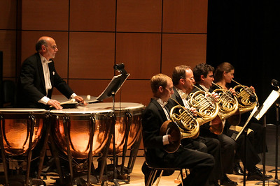 Timpanist, Mark Prall and the French Horn section of the Plymouth Philharmonic Orchestra during thePhil's performance at the Duxbury Performing Arts Center on Saturday Oct. 27th
