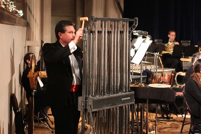 Chimes, an integral instrument  in holiday music, is played by Principal percussionist Paul Gross. Wicked Local Photo/Denise Maccaferri