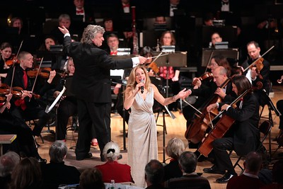 """Award winning singer/song stylist Amanda Carr sings """"The Christmas Song"""" with the Plymouth Philharmonic during the Holiday Pops concerts last weekend. Wicked Local Photo/Denise Maccaferri"""