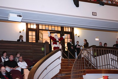 """Santa departs the Holiday Pops concert with """"Ho, Ho, Ho, Merry Christmas"""". Wicked Local Photo/Denise Maccaferri"""