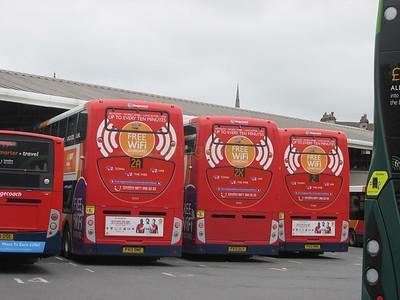 Group CONNECT 2s Stagecoach C&NL 10017 PX12DME, 10015 PX12DLY & 10020 PX12DMU Lancaster Bus Stn
