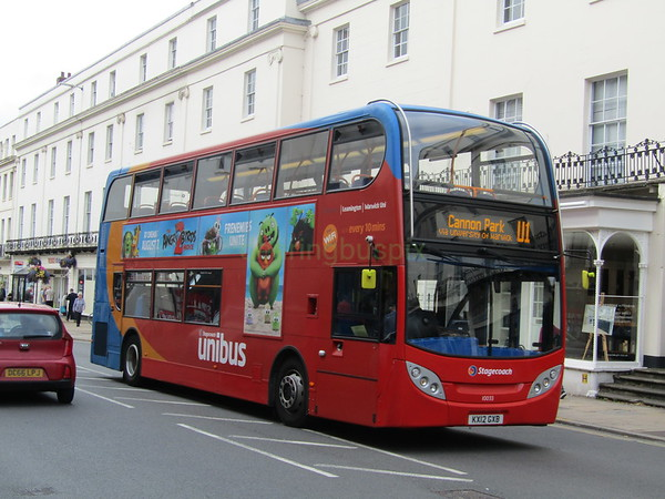 Stagecoach Midlands 10033 KX12GXB Parade, Leamington Spa on U1
