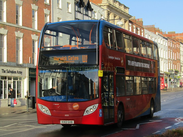 Stagecoach Midlands 10033 KX12GXB Parade, Royal Leamington Spa on U1 (1)