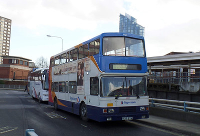 16127 - R127EVX - Portsmouth (The Hard) - 16.2.14   Operating on loan to Stagecoach South for Rail Replacement duties.