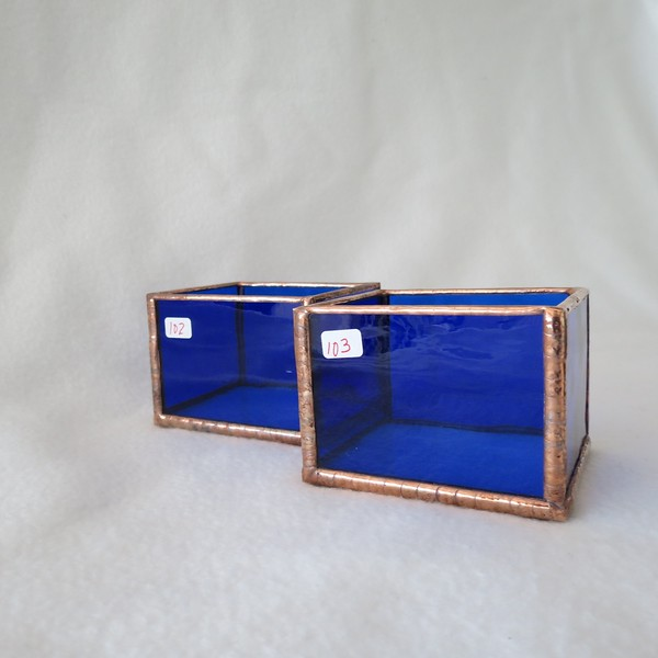 #102,. & #103. $8.00 each Blue Water Glass candle holder