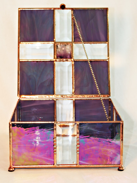#17. $120 / pyramid bevel top / irridized purple with copper patina