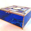 #3 $200.00/ Qualicum Beach sand dollar blue bevel box / copper patina beads