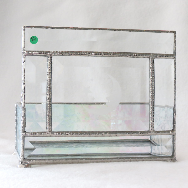 #61. $55.00 Frosted glass/Bevel Candle holder