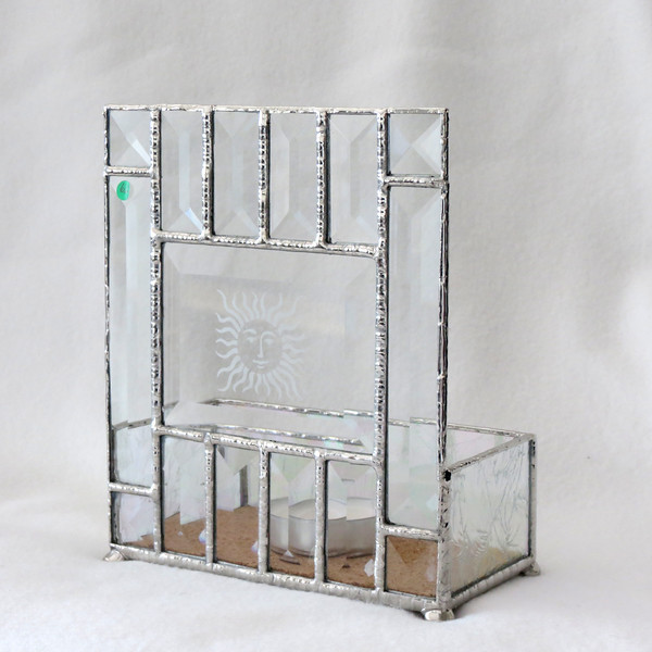 #62. $55.00 Frosted glass/Bevel Candle holder