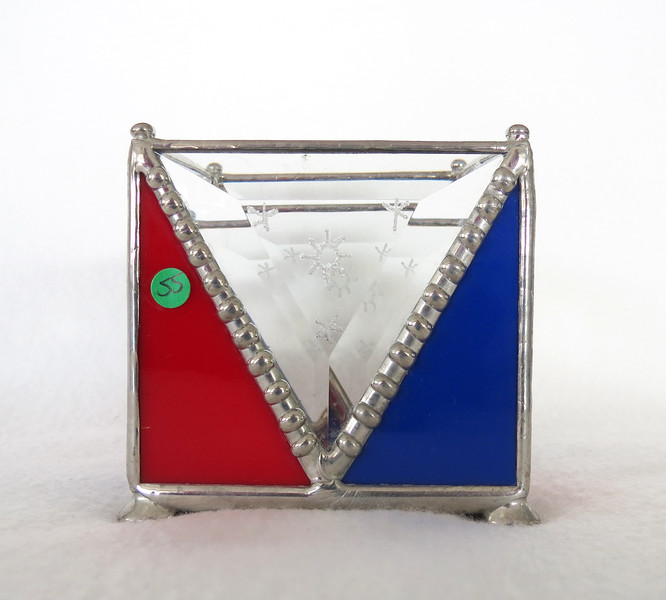 #55. $50.00 Red/Blue/Bevel candle