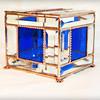 #43. $130.00 Paw print latch, blue water glass, bevels, box