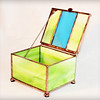 #37. Not for sale  green and blue stained glass box