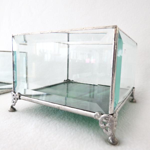 #87. $12.00 Bevel /green glass base candle holder