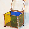#9. $60.00 / etched sun top with yellow & blue glass / copper beads