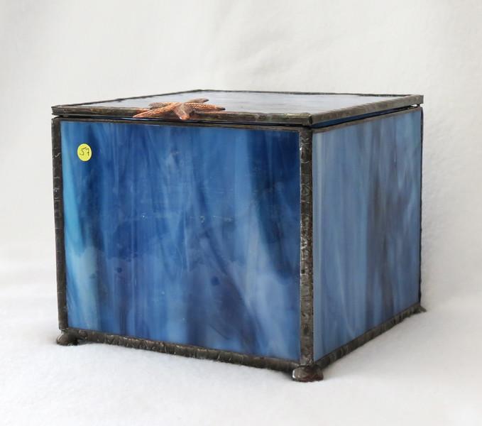 #57. $80.00 Small Bleu marbled glass/ copper starfish - Urn