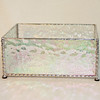 $55.00 / irridized textured glass with silver beads / candle votive holder