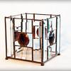 SOLD #26 $120.00 / brown gem bevel vase / copper patina texture
