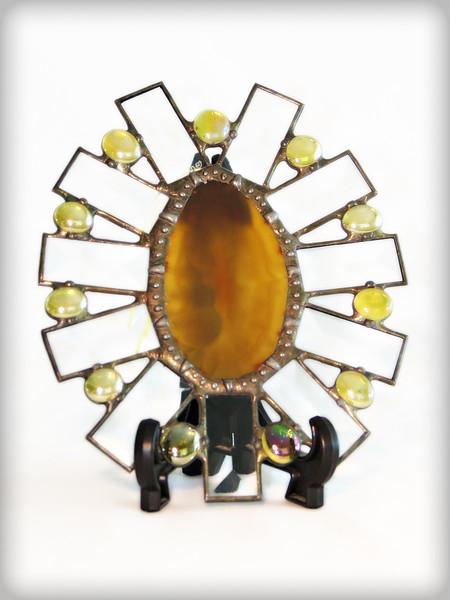 #36. $35.00 / Agate, Amber gem, and Bevel suncatcher