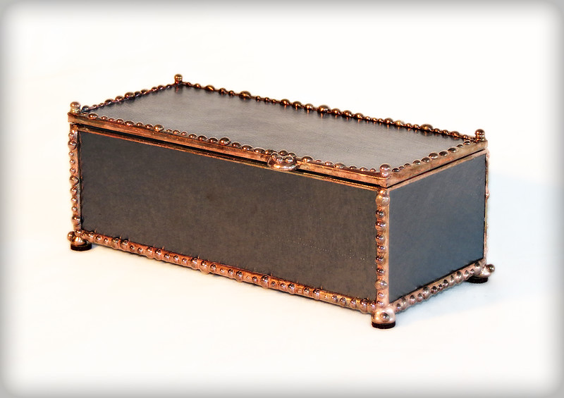 #13. $55.00/ midnight teal colored glass / copper patina