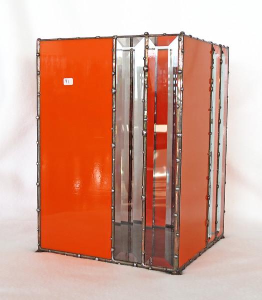 #91. $100.00 Orange/bevel Vase
