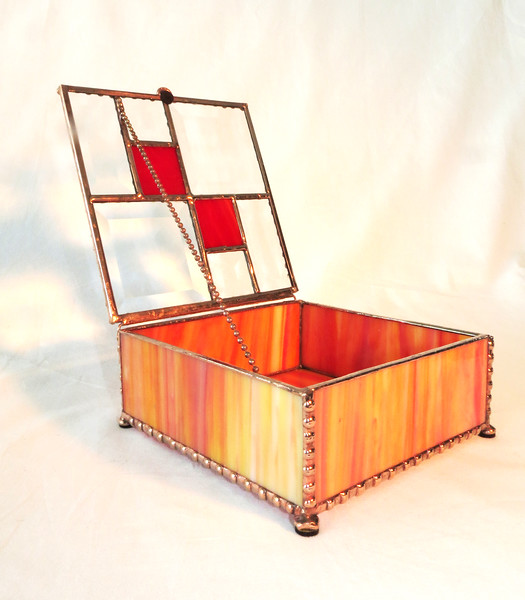#14. $120.00 / orange glass with red & bevel glass top / copper patina polished beads