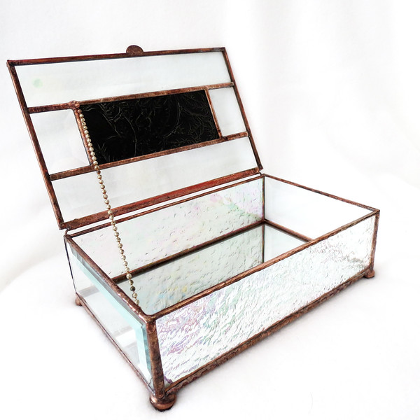 #67. $80.00 Copper/Blue Van Gogh Glass box