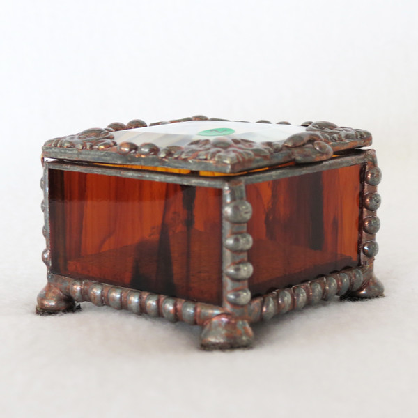 #12. $45.00 - Mini ring box/amber/copper