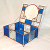 SOLD #41. $200.00 Real scallop shell lid, blue with bevels
