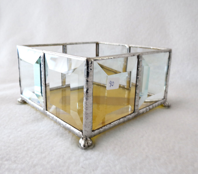 #90. $15.00 Bevel/yellow base candle holder
