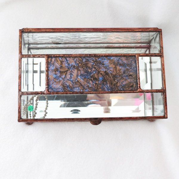 #67. $80.00 Copper/Blue Van Gogh Glass box