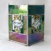 #54. $90.00 IR green, yellow gems/bevels candle holder