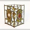 SOLD #34. $100 / agate amber gem bevel vase