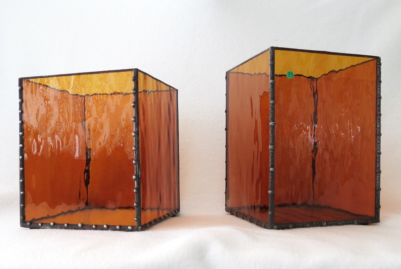 #72. & #73. $60.00 each Amber Candle holder