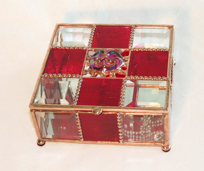 #18. $120.00 / red glass, red face, bevel box / copper patina