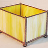 $35.00 / yellow candle votive holder with hammered solder texture