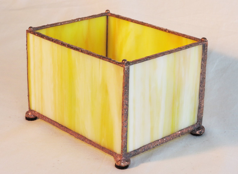 #20. $35.00 / yellow candle votive holder with hammered solder texture