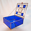 #3. $200.00 / Qualicum Beach sand dollar blue bevel box / copper patina beads