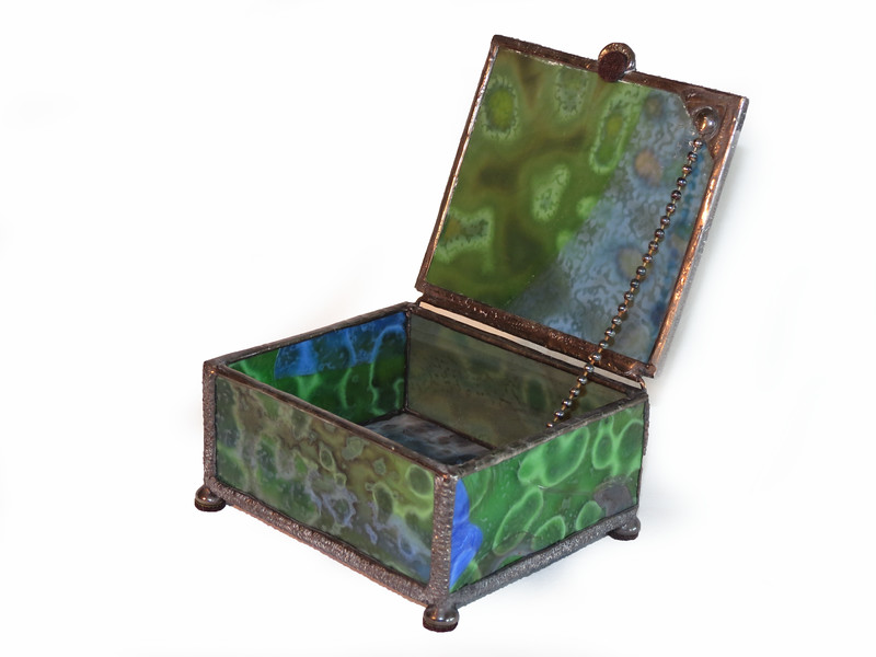 SOLD #10. $60.00 / green box / black patina hammered solder