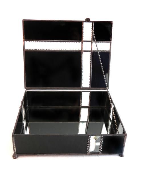 #1. $160.00 / black and bevel glass / black polished patina beads