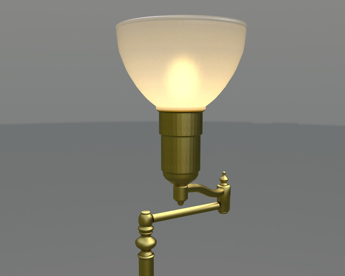 A rendering of the modeled lamp ready to try out different shade sizes and colors.