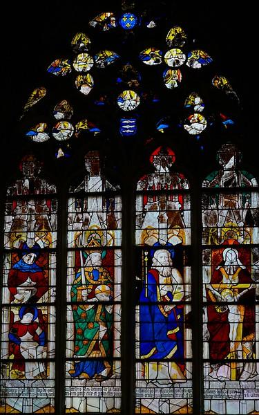 Caudebec-en-Caux - Saint Crepin with Saint Crepinien,  Charlemagne, Saint Matthew, The Trinity (1461)