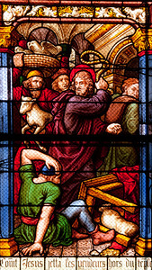 Chalons-en-Champagne Cathedral, Christ Expelling the Money Lenders from The Temple